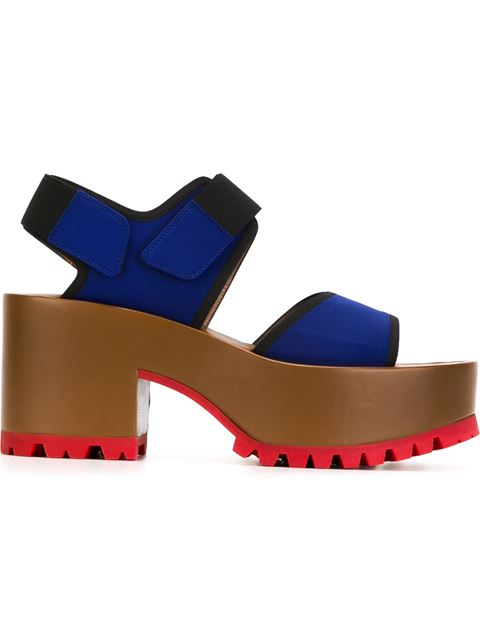 Marni Neoprene And Leather Platform Sandals In Blue