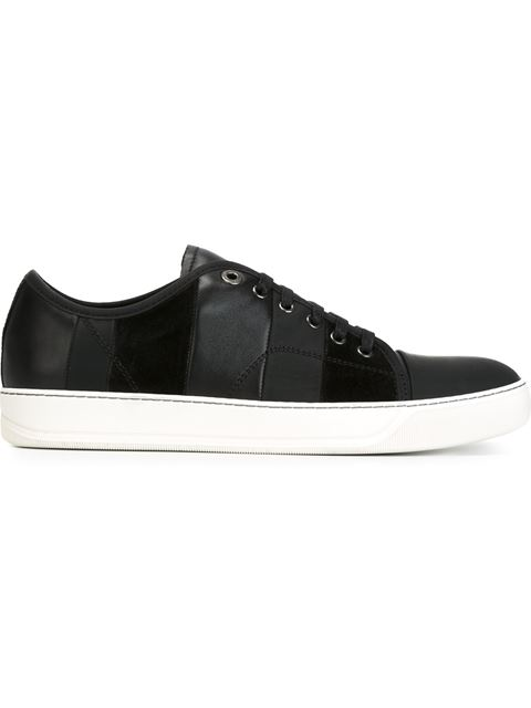 Lanvin Striped Calfskin And Suede Basket Sneakers In Black
