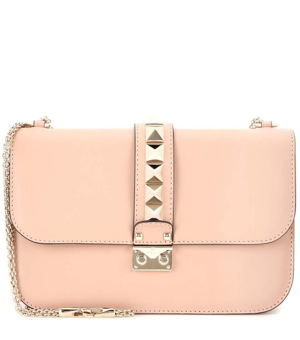 Valentino Lock Medium Leather Shoulder Bag In Sorbet Blush
