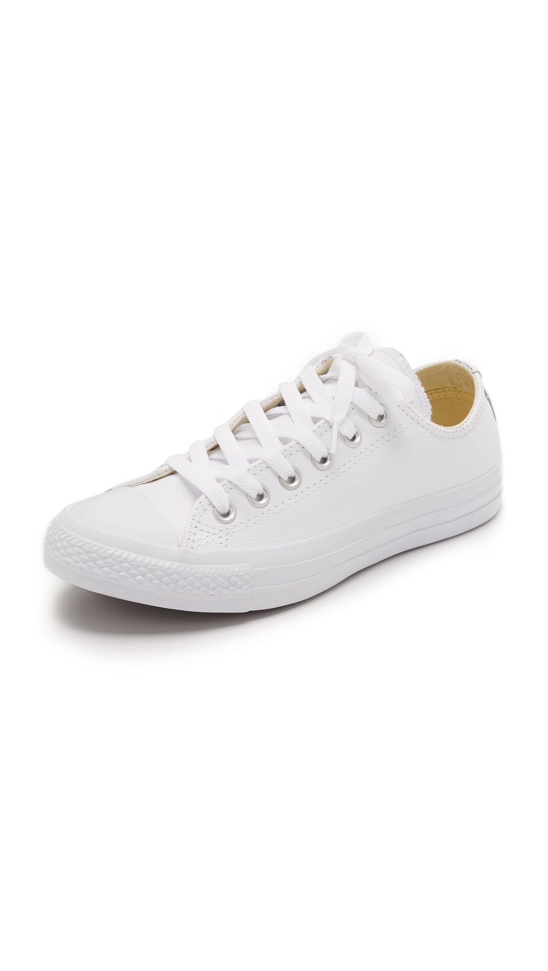 Converse All Star Low-Top Leather Trainers In White Monochrome ... f7b21dd9e2