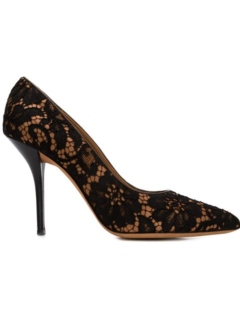 Givenchy Pamela Lace-Covered Leather Pumps In Blk-Hzl