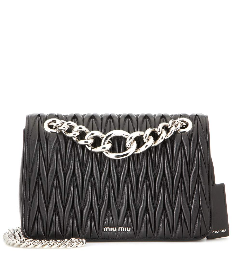 ac5987030529 Miu Miu MatelassÉ Leather Shoulder Bag In Black