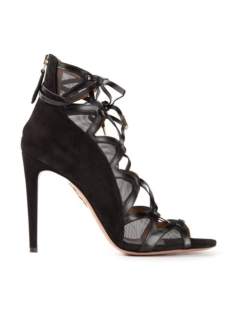 Aquazzura French Lover 105 Suede And Mesh Heeled Sandals In Black