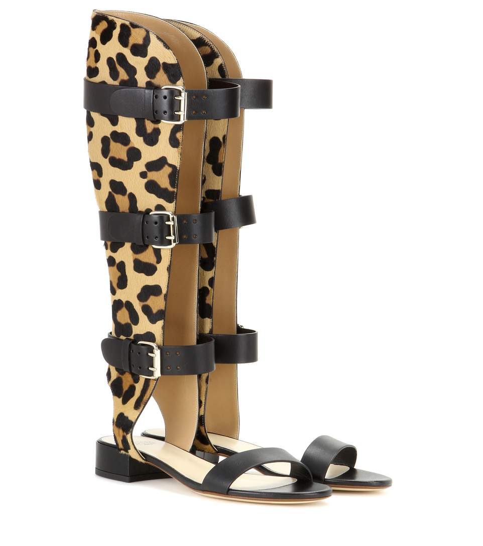 ed0f09de0b69 Francesco Russo Leather And Printed Calf Hair Gladiator Sandals In Black