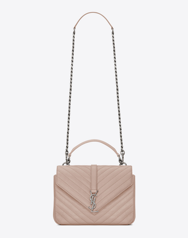Saint Laurent Classic Medium Monogram CollèGe Bag In Light Dusty Rose Matelassé  Leather e27331c80b26a