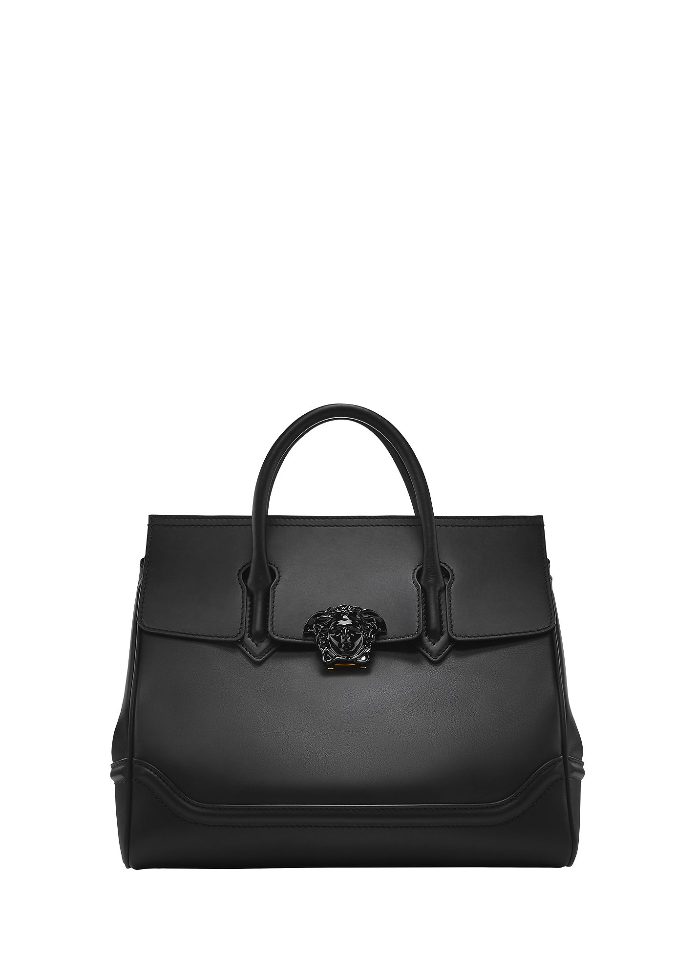 41f45eef3504 Versace Palazzo Empire Black Leather Large Handbag In Knjoc