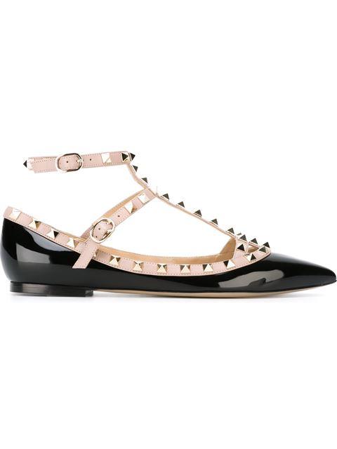 Valentino Rockstud Leather Ballet Flats In N91 Black