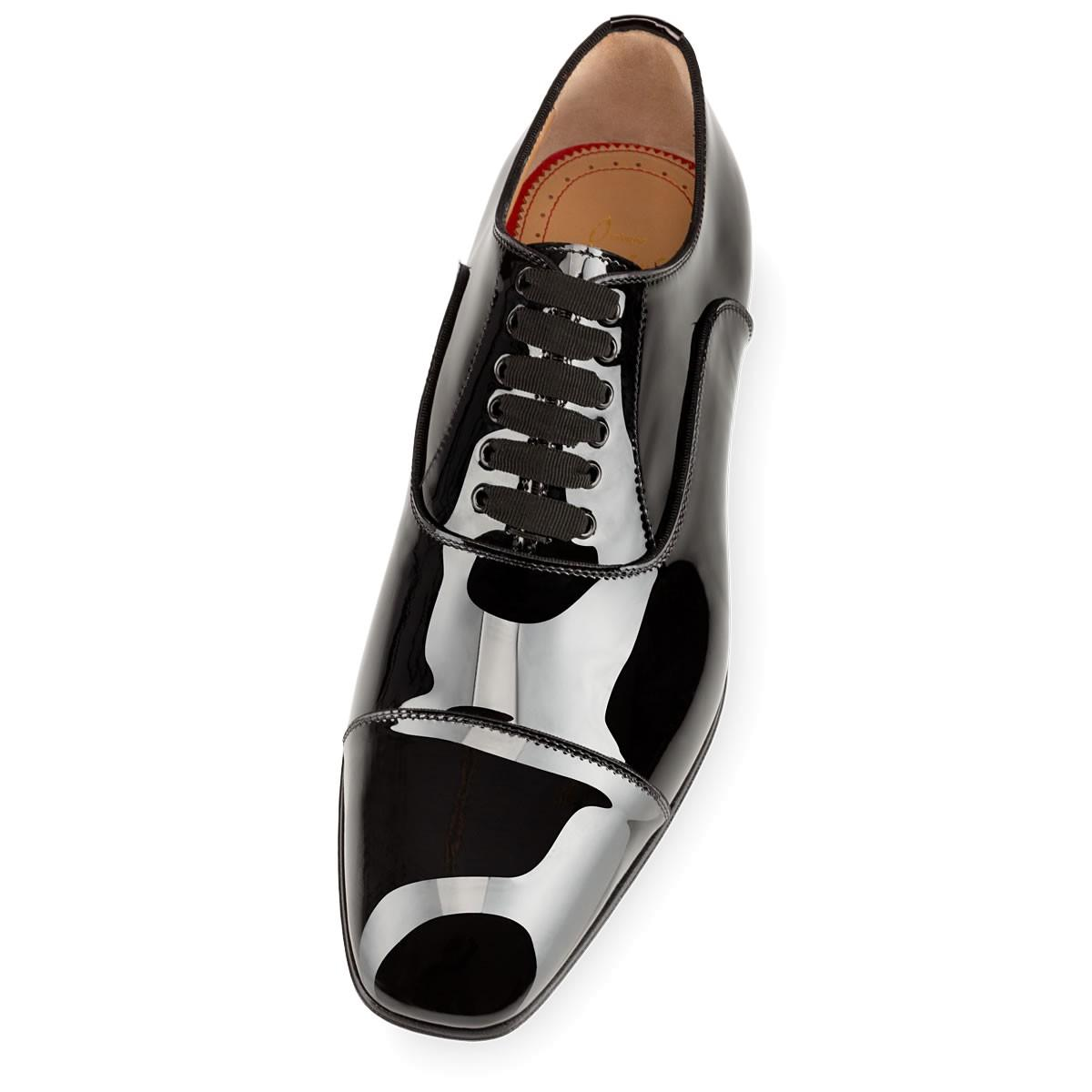 90b163e3eda Christian Louboutin Greggo Patent-Leather Derby Shoes In Black ...
