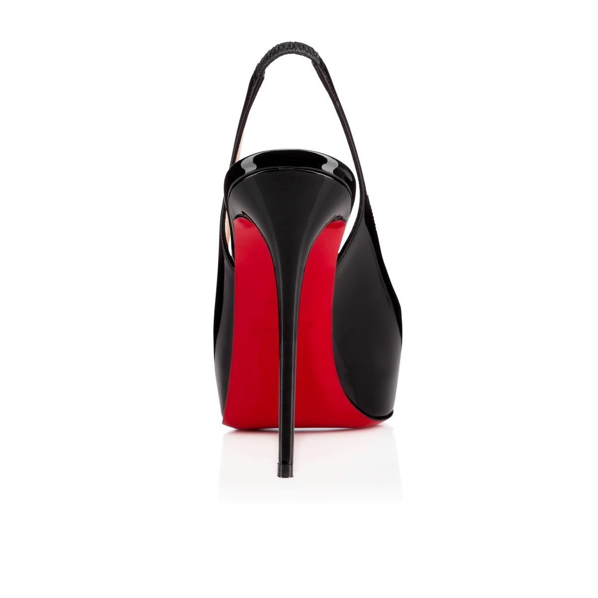 6ea72ce47656 Christian Louboutin Private Number Patent Peep-Toe Red Sole Slingback In  Black