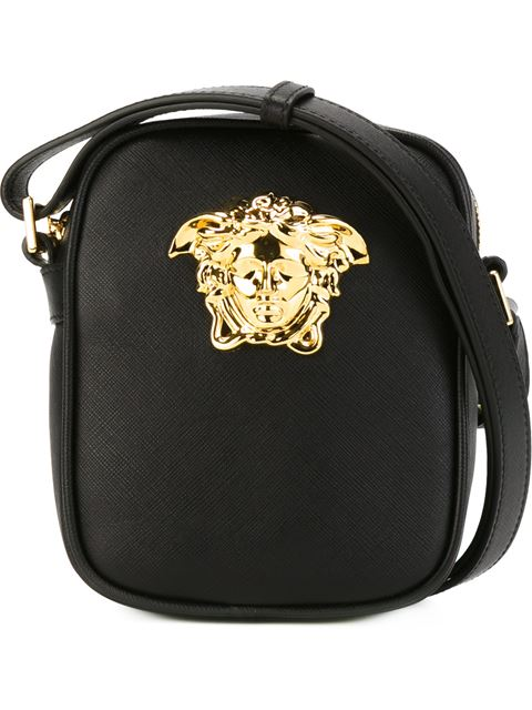 Versace Palazzo Pouch With Braided Strap In Black + Gold  0a73038983515