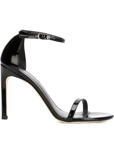 Stuart Weitzman Nudistsong Leather Ankle Strap Sandals In Blkpatent