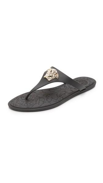 08e69b138c514 Versace Gold Medusa Flat Slide Thong Sandal In Black