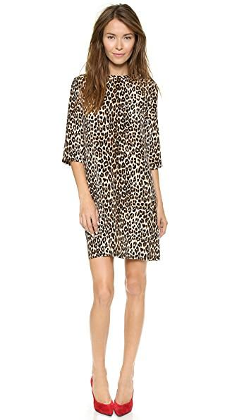 ee527c5126 Equipment  Marta  Leopard Print Silk   Cashmere Knit Dress In Black ...