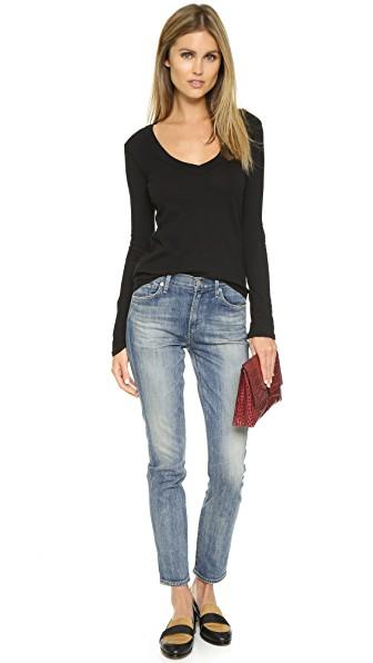 56e65d1e7f3a7c James Perse Long Sleeve Rib Deep V Neck Top In Black | ModeSens