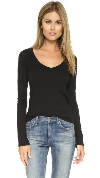 ba6dc86667c297 James Perse Long Sleeve V Neck Tee In Black | ModeSens