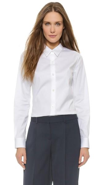 e9776c912ab Theory Luxe Tenia Button Down Blouse In White | ModeSens