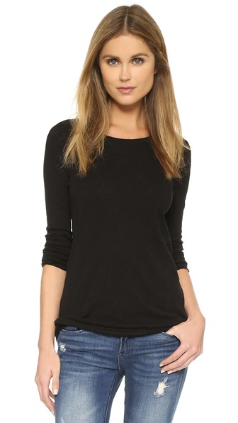 Atm Anthony Thomas Melillo Distressed Slub Cotton-Jersey Top In Black