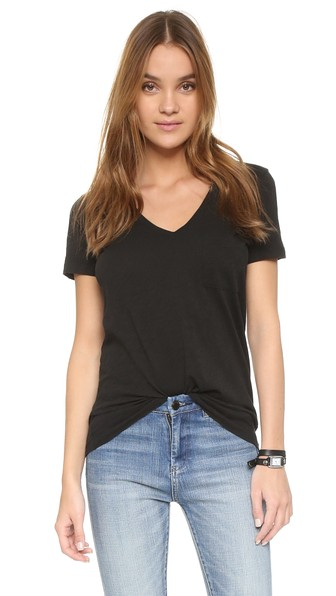 4f68da0be355 Madewell 'Whisper' Cotton V-Neck Pocket Tee In True Black | ModeSens
