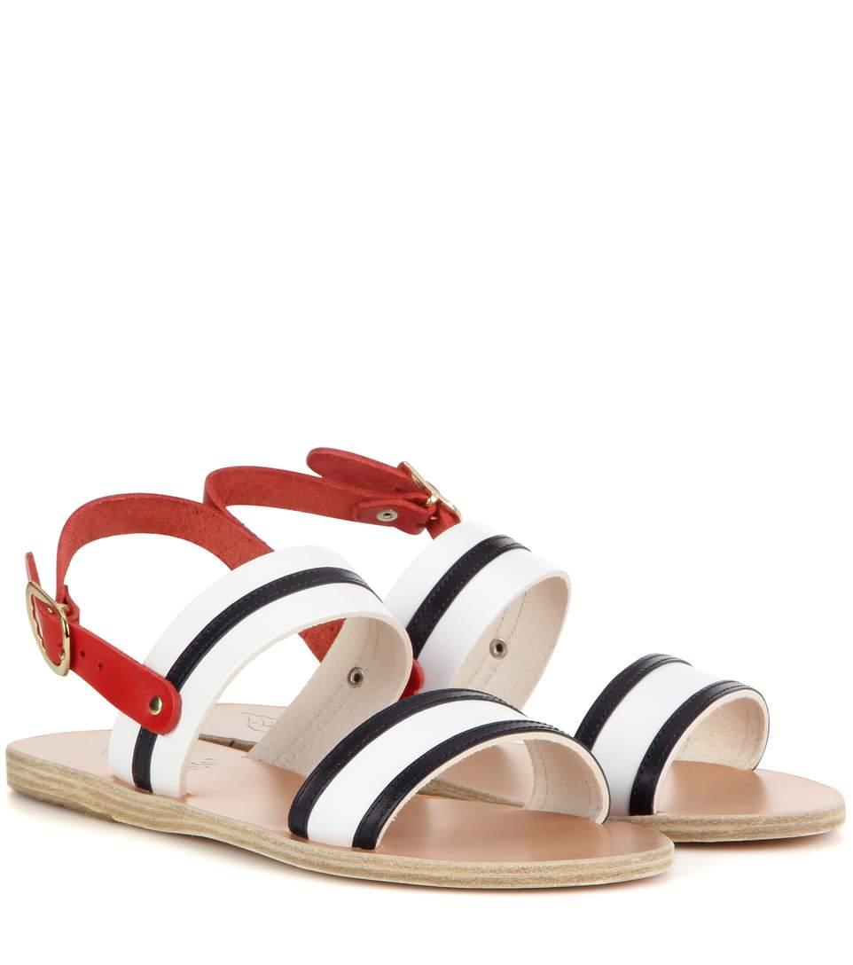 Ancient Greek Sandals Dinami Striped Leather Sandals In Eautical Stripes