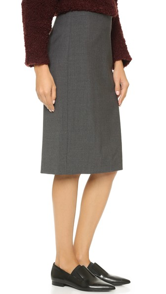 df9f231bb Theory Stretch-Wool Pencil Skirt In Charcoal | ModeSens