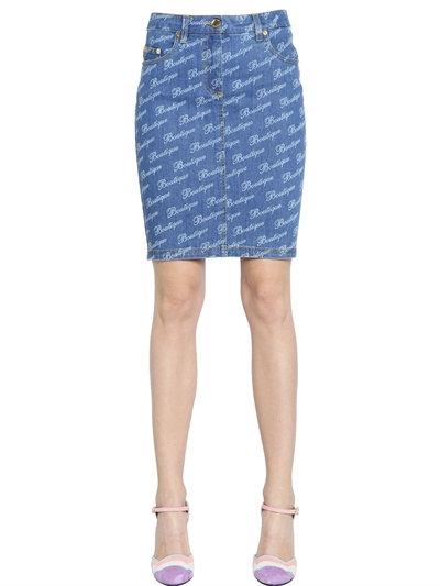 Boutique Moschino Boutique Printed Denim Pencil Skirt, Blue