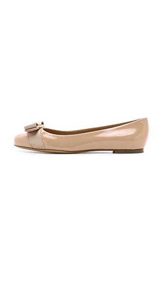 Salvatore Ferragamo Varina Bow-Embellished Patent-Leather Ballet Flats In Blush