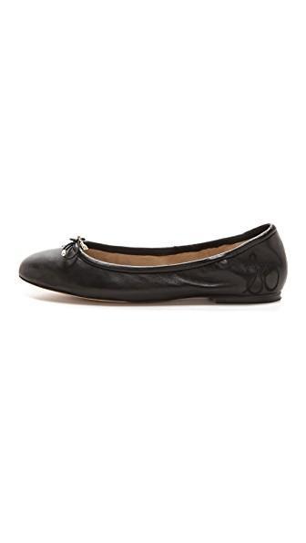 dba21087bf7ff Sam Edelman  Felicia  Leather Junior Ballerina Flats In Black