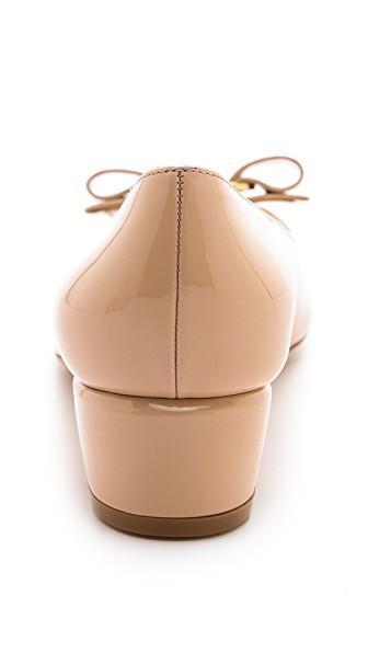 Salvatore Ferragamo Vara 1 Patent Low-Heel Pumps, New Bisque In Neutrals