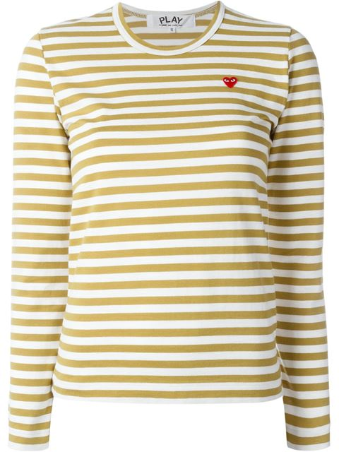 9f0ce163215c2 Comme Des GarÇOns Play Mini Heart Striped T-Shirt - Neutrals