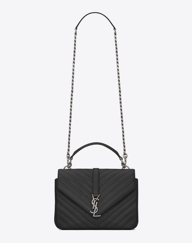 Saint Laurent College Medium Monogram Ysl V-Flap Crossbody Bag - Silver  Hardware In 1000 b7af942ca620f