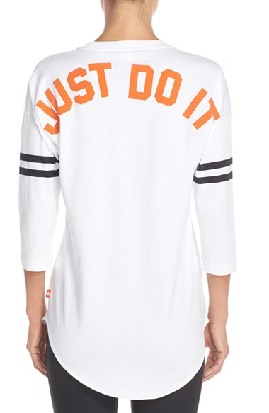 Nike  Just Do It  Top In White  Black  Safety Orange  5085fa27e