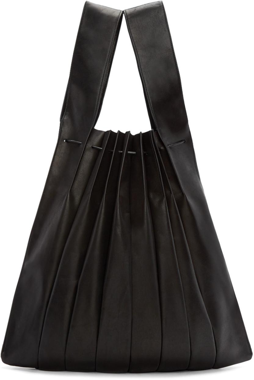 Yohji Yamamoto Black Pleated Leather Tote  5600c537beb3b