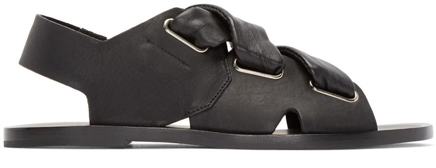 Rag & Bone Elda Leather Lace-up Slingback Sandals In Black Leather