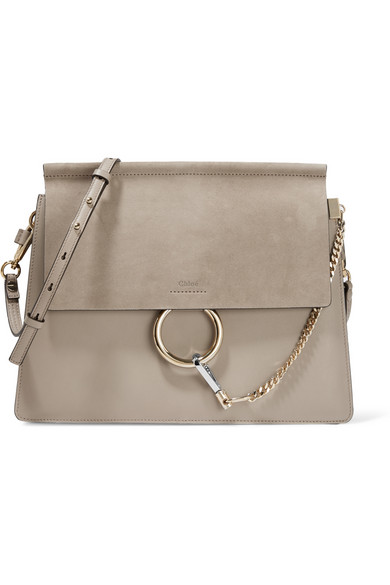 ChloÉ Faye Medium Leather And Suede Shoulder Bag In B79 Motty Grey