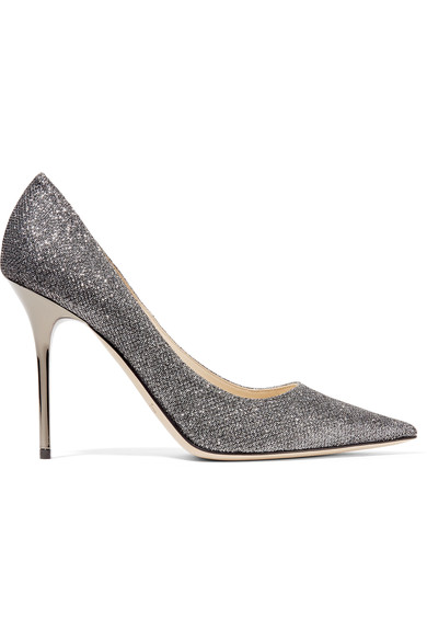 Jimmy Choo Romy 60 Anthracite LamÉ Glitter Fabric Pointy Toe Pumps In Grey
