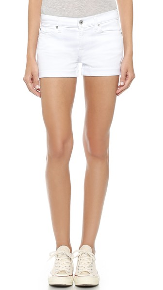 7 For All Mankind Roll-up Cuffed Denim Shorts In Clean White