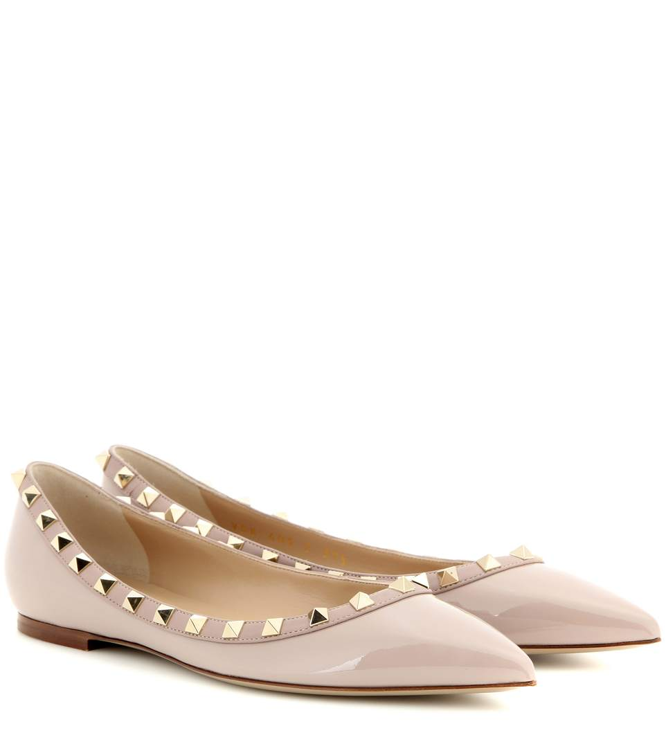 64a0fdb30250 Valentino Patent Rockstud Ballet Flat In Poudre