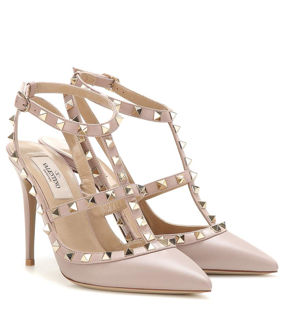 Valentino Rockstud Leather 100Mm Pump, Powder (Poudre) In Pink