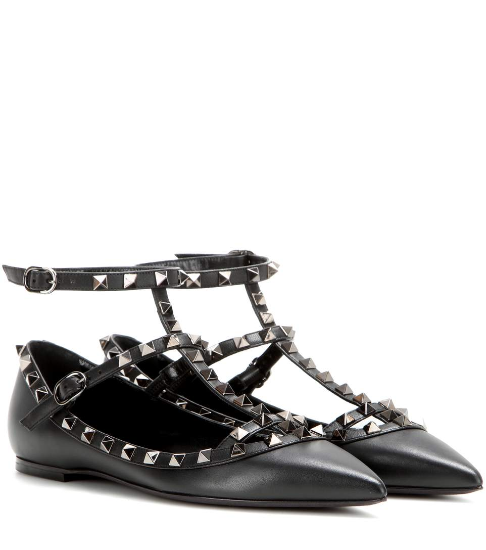 9a74109af069 Valentino  Rockstud  Double Ankle Strap Pointy Toe Flat In Black ...