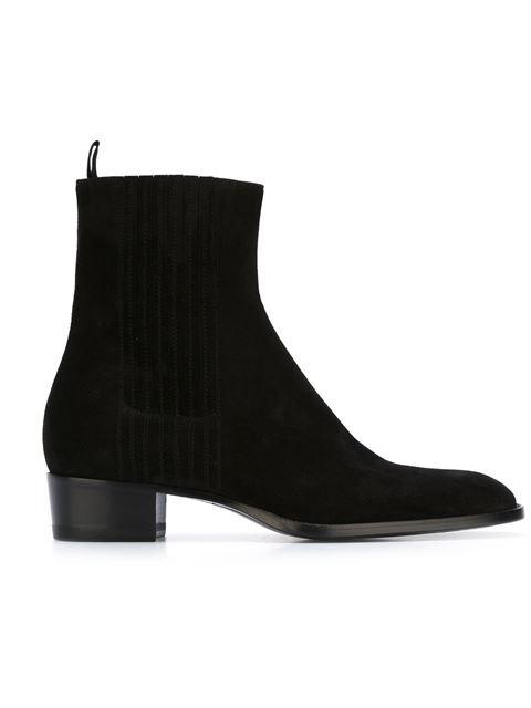 Saint Laurent Wyatt 30 Zipped Boot In Black Leather