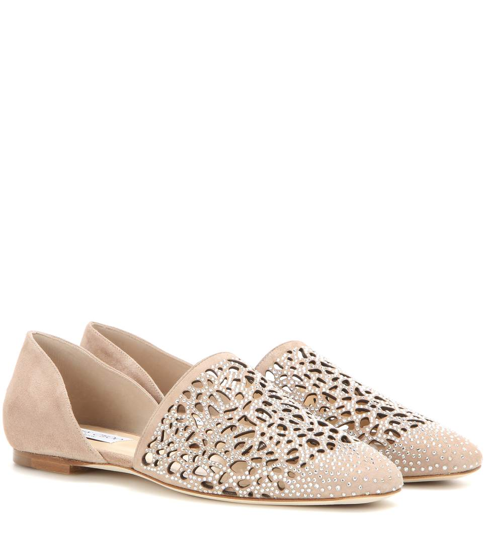 903f77e9be36 Jimmy Choo Globe Flat Ballet Pink Laser Perforated Suede Flats With Hotfix  Crystals In Ballet Pink