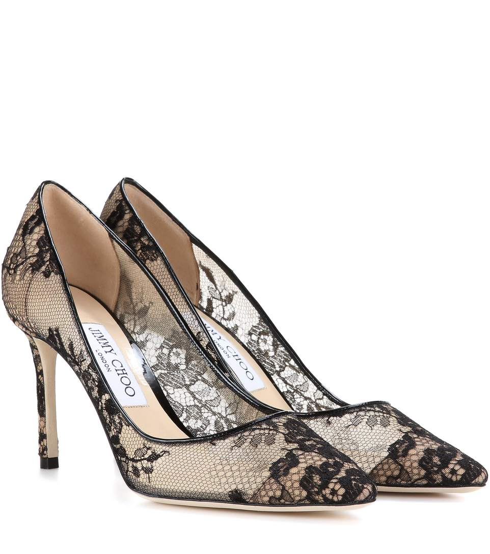 bc39e68b19 Jimmy Choo Romy 100 Black Lace Pointy Toe Pumps | ModeSens