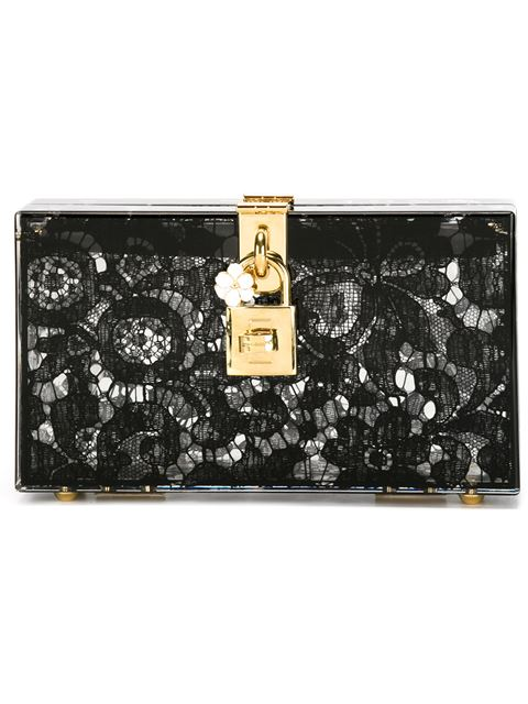 8eda56483888 Dolce   Gabbana Dolce Box Clutch In Plexiglass And Lace In Black ...