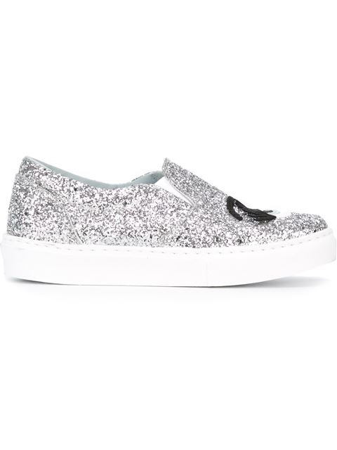 Chiara Ferragni Flirting Glitter-embellished Skate Shoes In Grey
