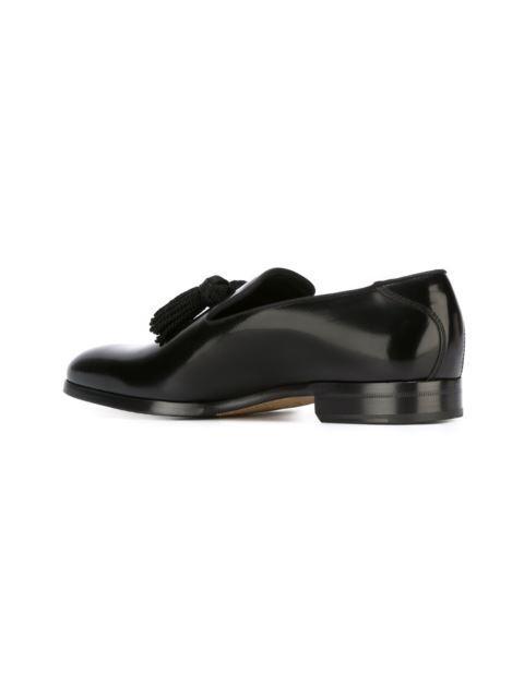 86f33f0615f Jimmy Choo Foxley Black Patent Leather Tasselled Slippers