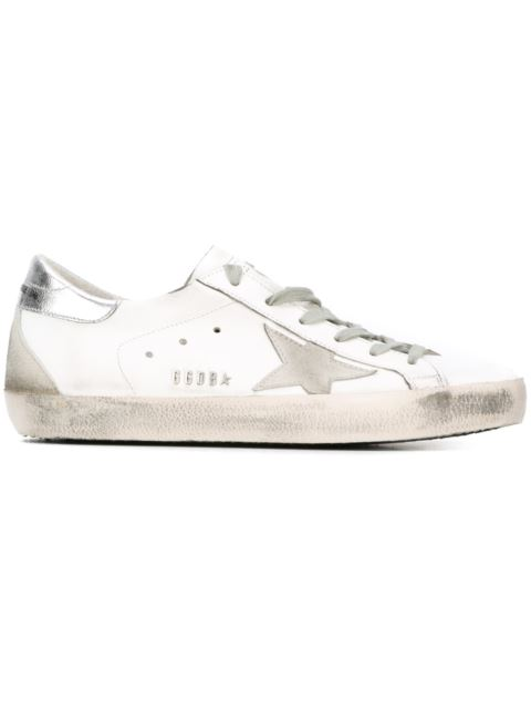a32ed8ee27b Golden Goose Superstar Distressed Metallic Leather And Suede Sneakers In  White