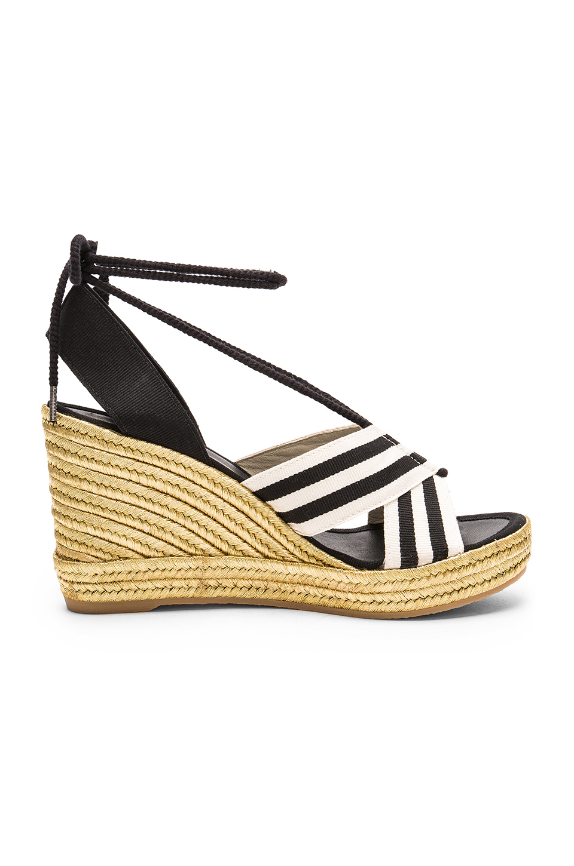 52c0eba2568 Marc Jacobs Dani Metallic Wedge Espadrille Sandals In Black   White ...