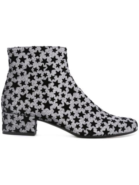 Saint Laurent Babies Star-embellished Glitter Ankle Boots In Ruteeio