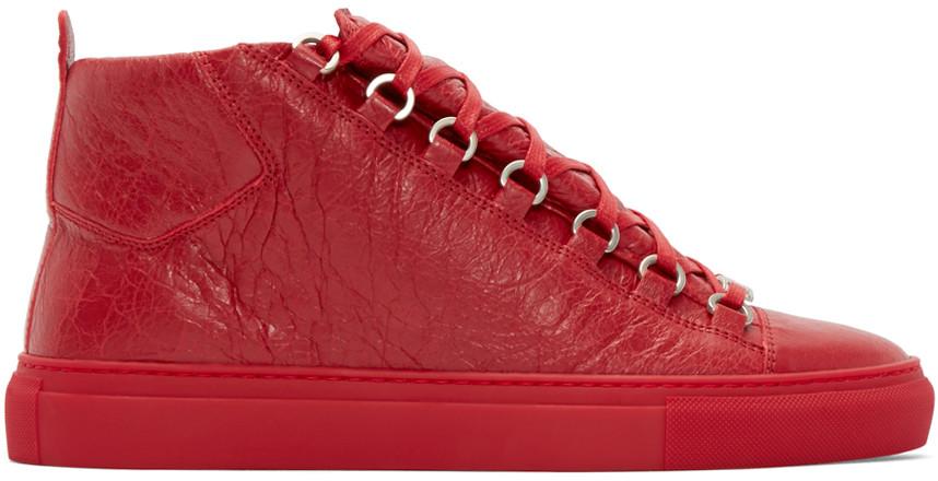 Balenciaga Men's Arena Leather High-top Sneaker, Verm/rose In Orange