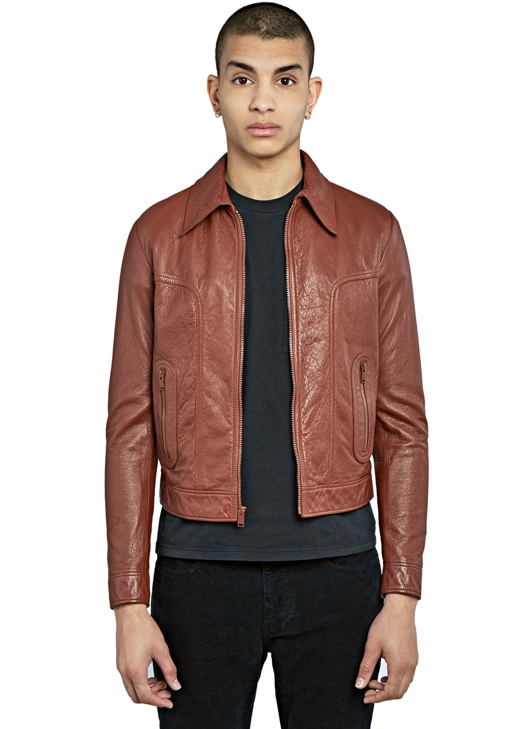 Saint Laurent MenS 70S Leather Jacket In Brown